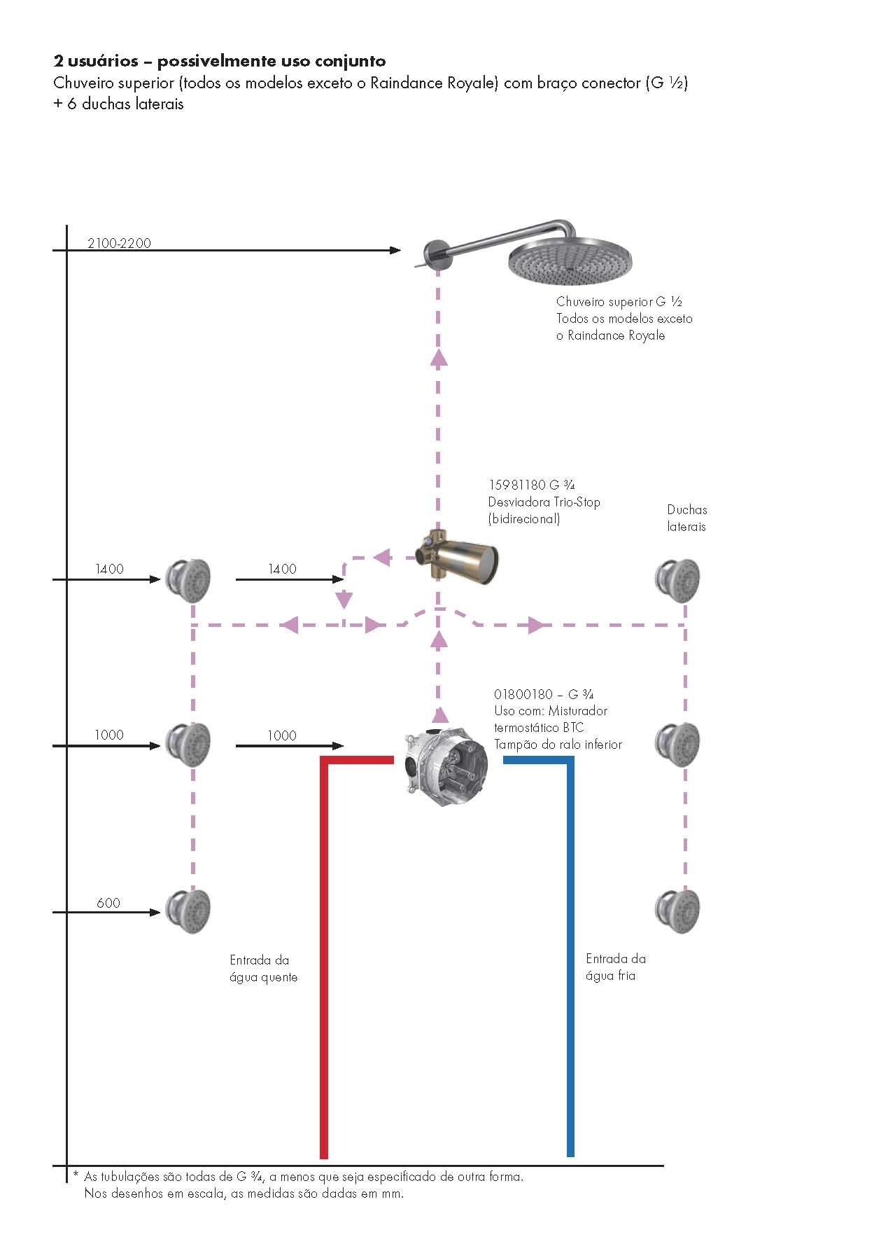 Chuveiro superior pendente do teto (G ½)   6 duchas laterais JPG 0 1  #0358A0 1249x1766 Banheiro Com Hidro E Chuveiro