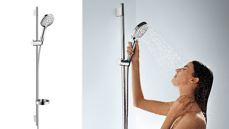 Woman showering with shower set