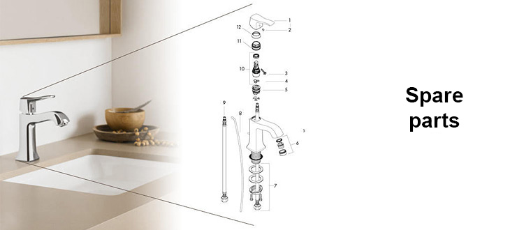 Hansgrohe basin mixer – exploded view on the right-hand side of the image
