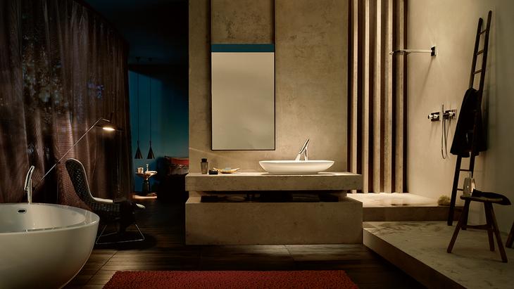 Beautiful Axor Starck Organic Bathroom Ambience At Night