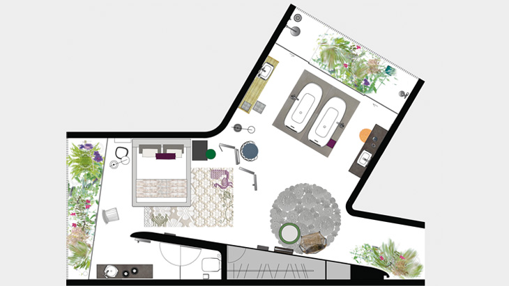 Floor plan for an AXOR Urquiola bathroom