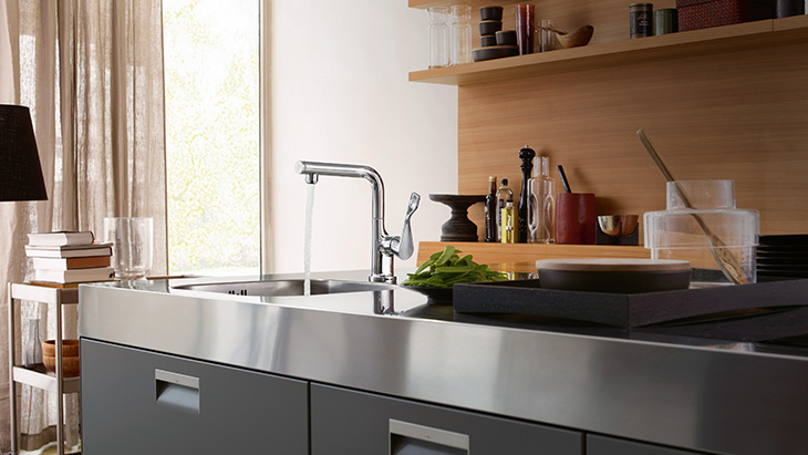 Axor Citterio Select kitchen faucet in action.