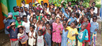 Children at a facility in Haiti, assisted by Haiti aid organisation Pwojè men kontre.