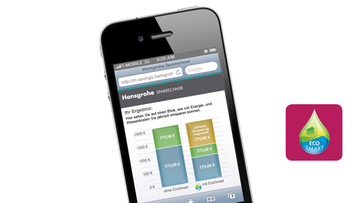 Screen from the Hansgrohe savings calculator