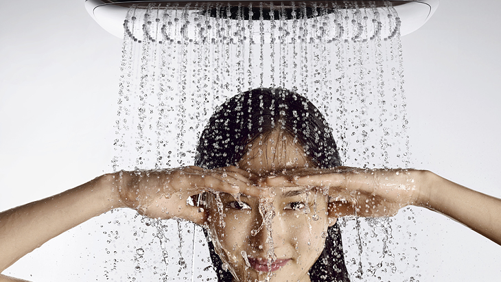 Woman, overhead shower