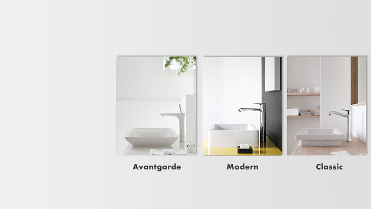 Virtual style check for different wash basins: three pictures of Hansgrohe mixers from the Avantgarde, Modern and Classic style worlds.