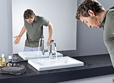Axor Massaud washbowl with Axor Massaud faucet
