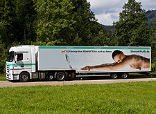 hansgrohe shower truck number 3 on the road