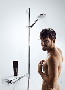 Man, Hansgrohe shower system