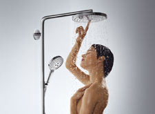 Woman, showers, Select button