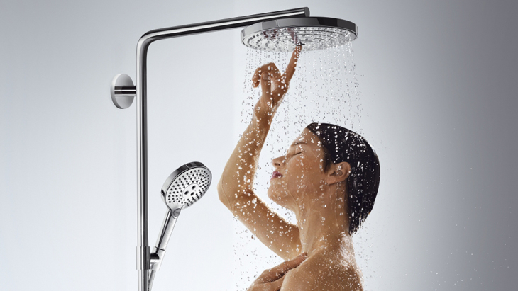 Woman, shower heads, Select button