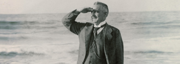 Hans Grohe, 20th century visionary and pioneer in the sanitation industry, in his element – water.
