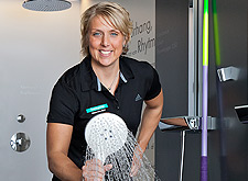 Christina Obergfoell with Hansgrohe shower