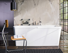 The Axor Citterio bath tub is intended for connection to a wall.