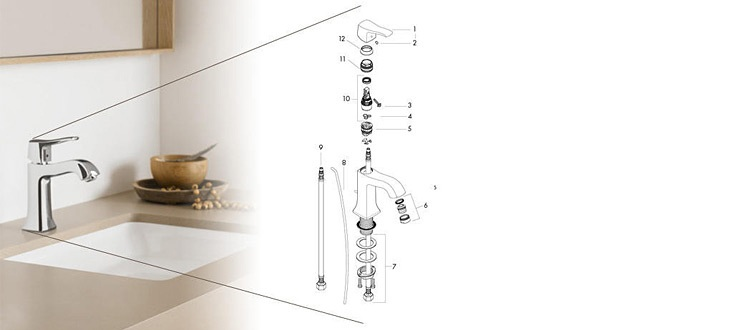Hansgrohe lavatory faucet – on the right in the exploded drawing