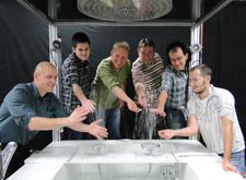 Team photo of the Hansgrohe spray researchers.