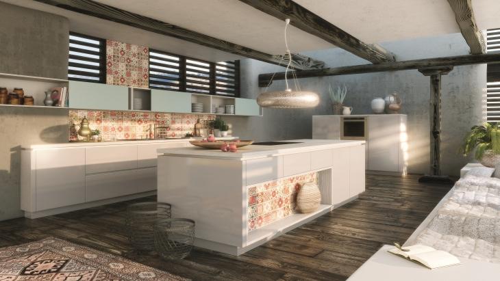 Wohnliche küche mit holz und teppich