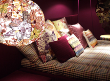 Cushions with colourful patterns