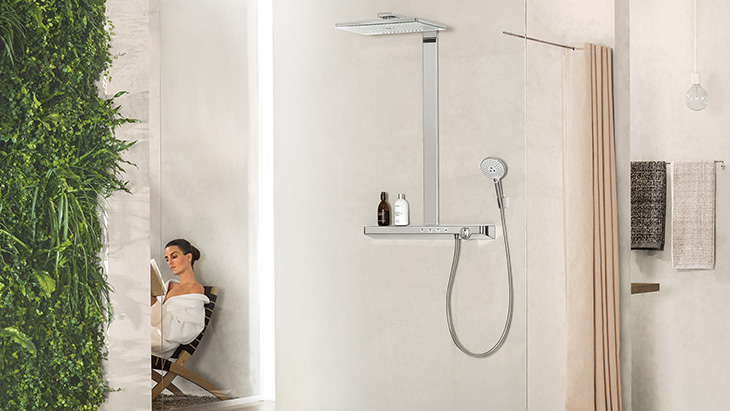 Open-plan shower setting with Hansgrohe showerpipe.