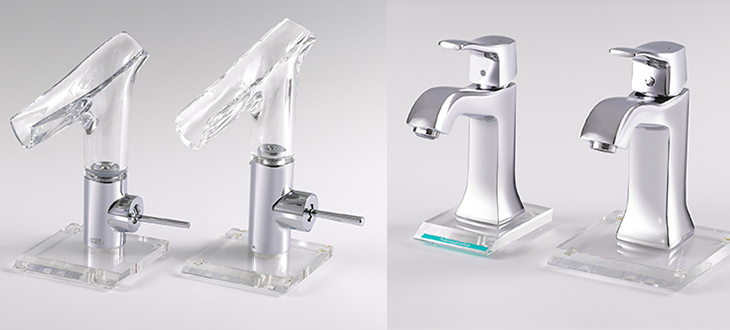 Two blatant copies (right) of AXOR and hansgrohe taps: AXOR Starck V glass tap and the hansgrohe tap Metris Classic