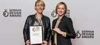 A. Bachmann (l.), Public Relations, and S. Giessler, AXOR Brand Marketing, accept the 2017 German Design Award Gold