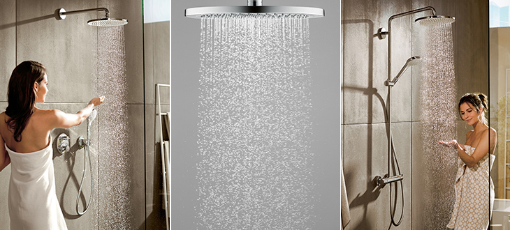The hansgrohe Croma 280 overhead showers bring clean design and the pleasure of a soothing rain shower to the bathroom.