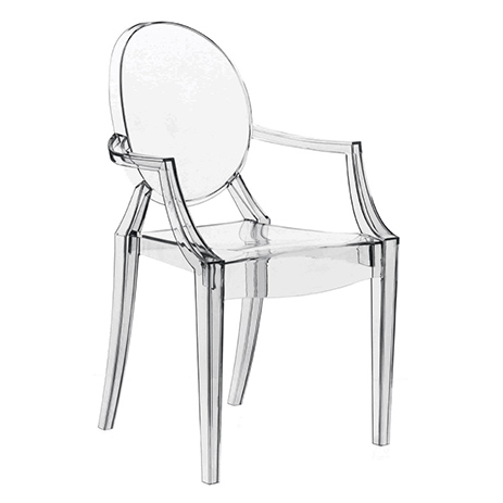 Chair made of transparent plastic.