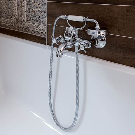 Tub Spout Wall Mounted With Hand Shower In Traditional Style.
