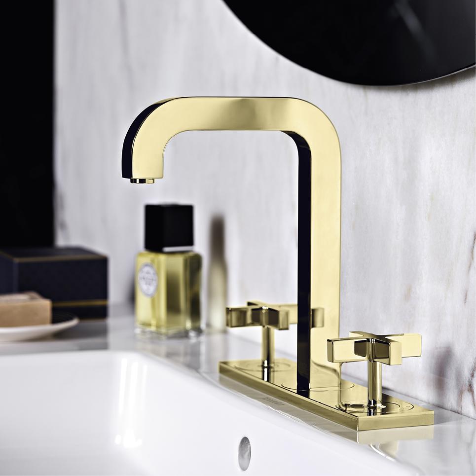 Brass And Black Bathroom