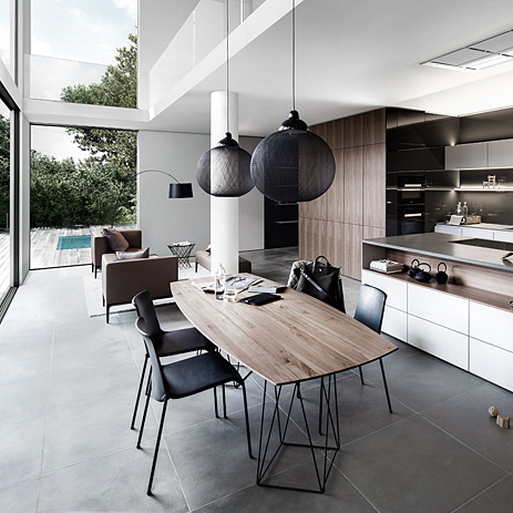 Open Plan Kitchen With Gallery.