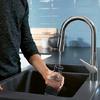 Double sink with a hansgrohe kitchen tap.