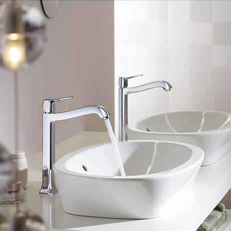 Hansgrohe Metris Classic Waschtischmischer mit extra Auslaufhöhe für die Kombination mit Aufsatzbecken und Waschschüsseln.