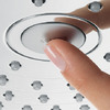 Select button on a Hansgrohe overhead shower.