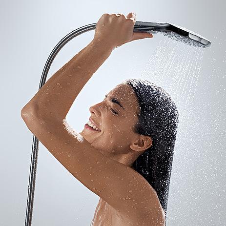 Hg raindance select hand shower woman holding hand shower up 463x463