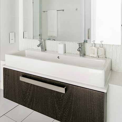 double wash basin featuring hansgrohe products - Bathroom Designs Johannesburg