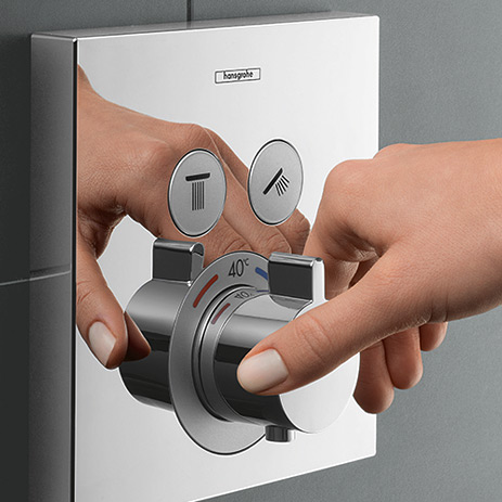 select new concealed solutions for bathrooms hansgrohe. Black Bedroom Furniture Sets. Home Design Ideas