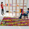 Colourful checked rug.