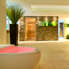 Invigorating pink to illuminate the bath tub in this spa, as seen in the Romantik Hotel Sackmann, Germany.