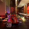 In the lounge bar at the new W Hotel in Taipei the focus is on fiery red, creating an impressive ambience.