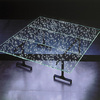Glass table with LEDs.