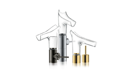 Single lever basin mixer 140 with glass spout and waste set