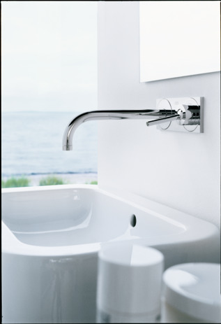Axor Uno Wall-Mounted Single-Handle Faucet Trim with Base Plate