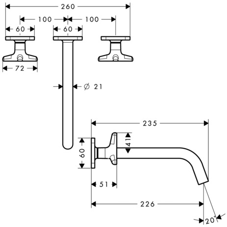 3-hole basin mixer for concealed installation with spout 226 mm, star handles and escutcheons wall-mounted