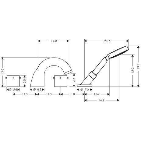 axor starck wannenarmaturen zweigriff 2 verbraucher. Black Bedroom Furniture Sets. Home Design Ideas