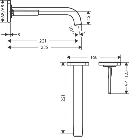 Single lever basin mixer for concealed installation wall-mounted with spout 221 mm and escutcheons