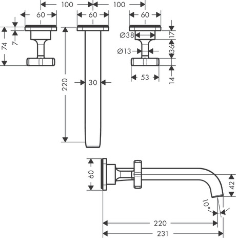 3-hole basin mixer for concealed installation wall-mounted with spout 220 mm and escutcheons