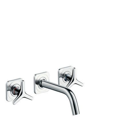 3-hole basin mixer installation with star handles, escutcheons with 166 mm spout, wall-mounted
