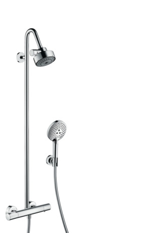 Showerpipe with thermostatic mixer and 3jet overhead shower