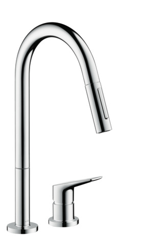 2-hole single lever kitchen mixer with pull-out spray