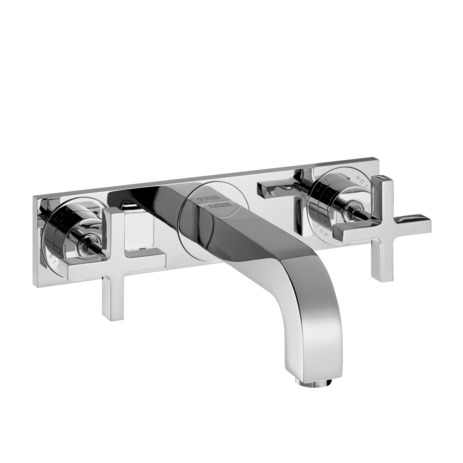 3-hole basin mixer for concealed installation wall-mounted with spout 226 mm, cross handles and plate